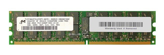 Memory RAM 1x 4GB Micron ECC REGISTERED DDR2  667MHz PC2-5300 RDIMM | MT36HTF51272PY-667E1